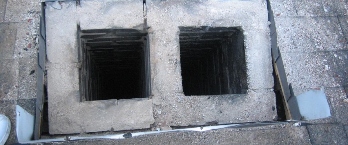 cinderblock in chimney rebuild