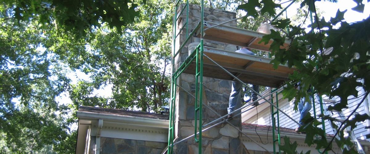 Stone chimney repair